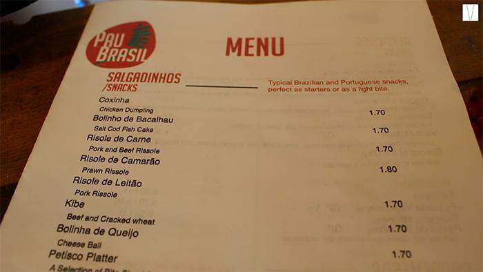 menu pau brasil